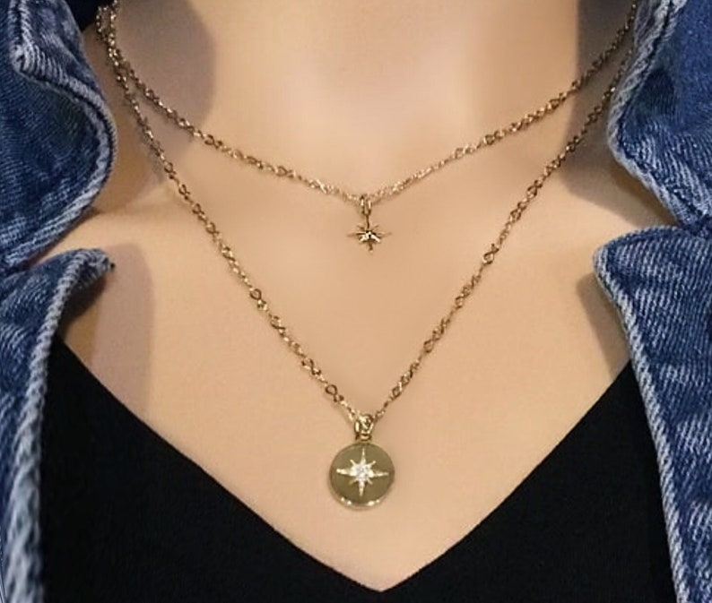 Gold necklace set Gold star necklace Layered necklace set image 0