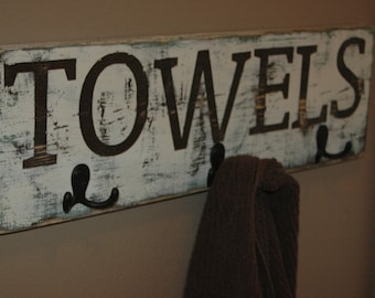 Rustic TOWEL/COAT rack all painted