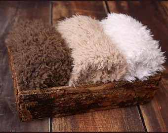 Faux Fur Newborn Photo Prop * super soft basket filler stuffer and bean bag covering * neutral, brown, caramel, cream * flokati alternative