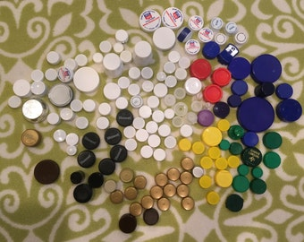 200 Plastic Bottle Caps, White and multi colored bottle caps, recycled bottle caps