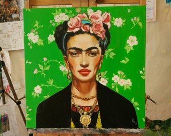 OOAK Frida Kahlo portrait, oilpainting