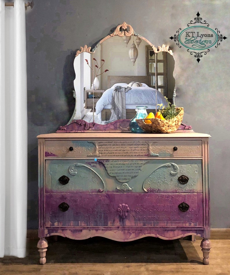 Antique Boho Dresser Ombre Dresser Bedroom Dresser Painted Etsy