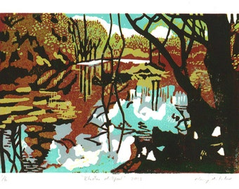 Millpool limited edition linocut reduction print (brown)
