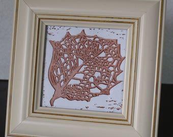 Leaf Skeleton - original fine art linocut print.
