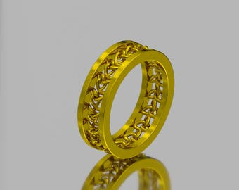 14KT Yellow Gold Trinity Knot Celtic Wedding Band