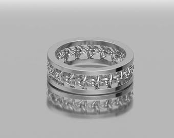 14KT White Gold  6 MM Trinity Knot Celtic Wedding Band