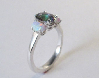 Stering Silver Mystic Topaz And Opal ring