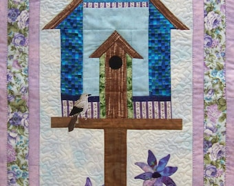Debbie Mumm Purple Birdhouse Wallhanging