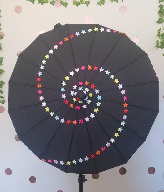 Starry Night Pagoda Umbrella Black Umbrella Parasol Star Etsy