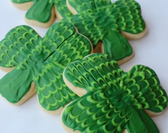 Shamrock  St. Patrick's Day Sugar Cookies with Buttercream Frosting