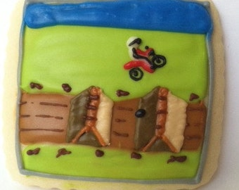 Motocross Sugar Cookies with Buttercream Frosting