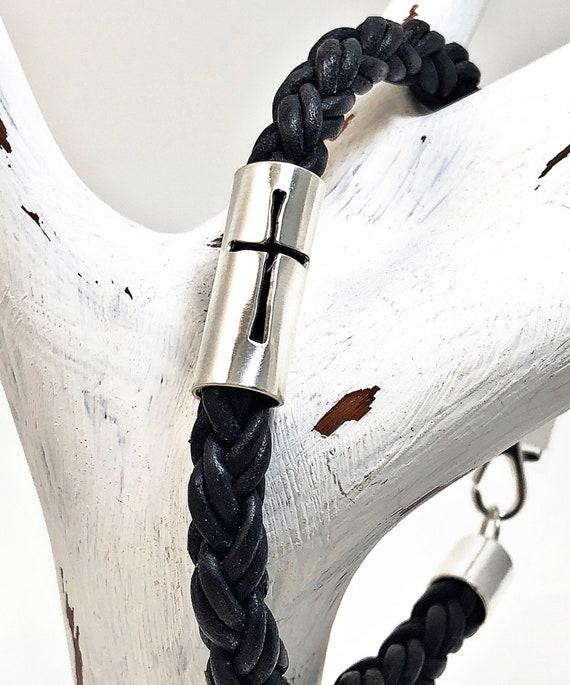 Sterling Silver Sideway Cross Bracelet Mens Leather Bracelet