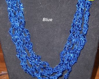 """Ladder Trellis Necklace Blue 5 strands 16"""" Adjustable"""