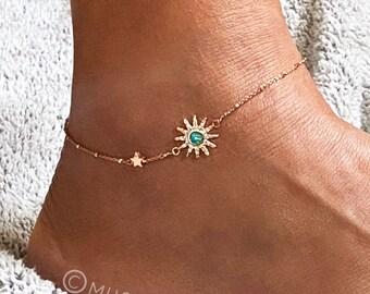 Sun Anklet, Rose Gold satellite chain, Sunburst anklet, Gift for friend, Gift for Bff, celestial bracelet, minimal bracelet, anklet, Muse411