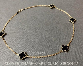 Clover Necklace, Four leaf clover necklace gold, clover choker, four leaf clover choker, black clover necklace, clover jewelry, black flower