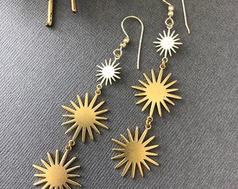 Star burst charm earrings, sun earrings, gift for her, three tier earrings, drop dangling  sun charm earrings, star earrings, muse411