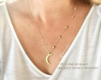 Moon and Stars necklace, crescent, I love you to the moon and back necklace, mother daughter necklace, crescent city Necklace, New Orelans