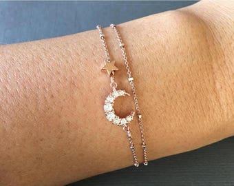 Dainty Crescent moon and star Bracelet, dainty Moon and Star bracelet, Layered Bracelet, crescent moon bracelet, minimalist bracelet