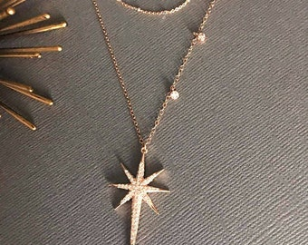 Polaris Star Necklace, Double Layer Necklace,  18K Rose Gold NorthStar necklace, I love you to the moon and back necklace, Polaris, Muse411
