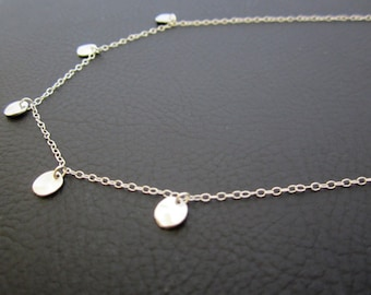 Matte Rhodium plated Hammered Coin Necklace. Sterling Silver chain and clasp.