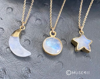 Moonstone necklace, Rainbow Moonstone, Moonstone Jewelry, Moonstone sun, moon, Star pendant, Gift for sisters, minimalist necklace, muse411