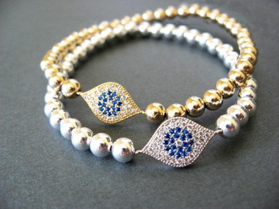 9836f070aebb1 14K Gold Fill Bead Bracelet Evil eye Bracelet Evil Eye charm