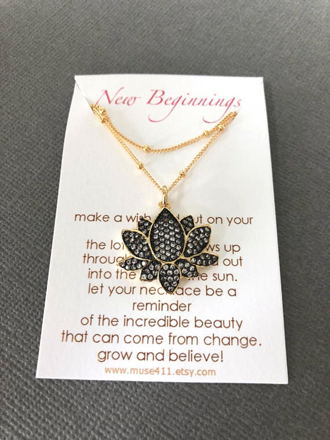 New Beginnings Dainty Lotus Necklace Elegant Lotus Flower Etsy