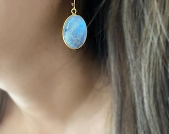 Rainbow Moonstone oval pendant earrings, Large Oval Moonstone earrings, healing gemstone, gift for women, muse411