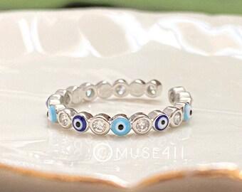 Evil Eye Ring, Blue Evil eye adjustable Rings, minimalist Ring, Gold Stacking Ring, Evil Eye Protection jewelry, Evil Eye, Christmas gift
