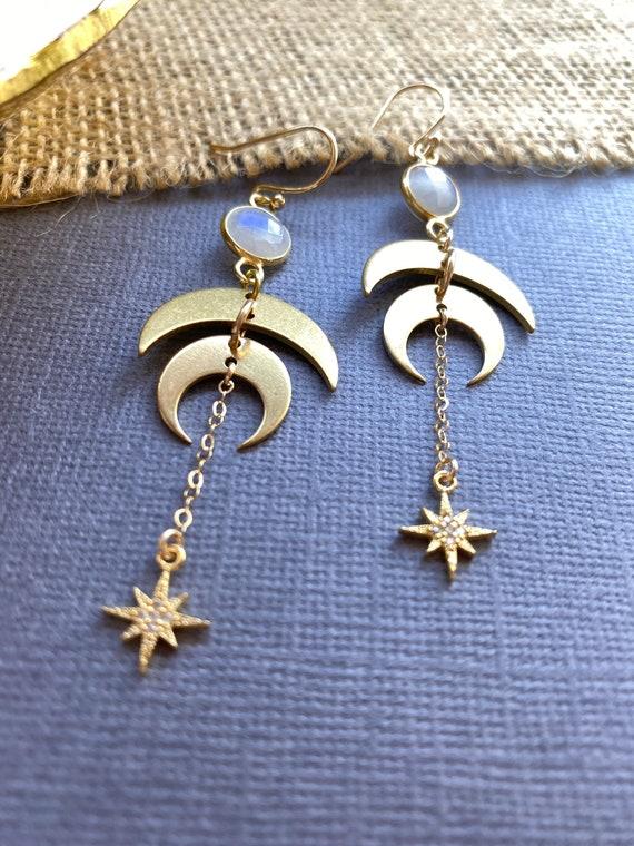 Bride Bridesmaid Hippie Chick Flower Child Woodland Wedding l Earrings Under 25 Moon and Stars Earrings    Celestial Earrings