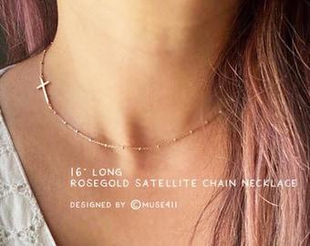 Dainty Sideways CROSS Necklace, Cross Choker, cross necklace rose gold, cross necklace, minimalist choker, silver cross Necklace, Graduation