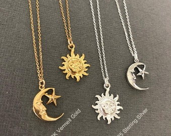 Sun and Moon necklace, I love you to the moon and back necklace, you are my sunshine, you are my moonshine, sunshine necklace, muse411