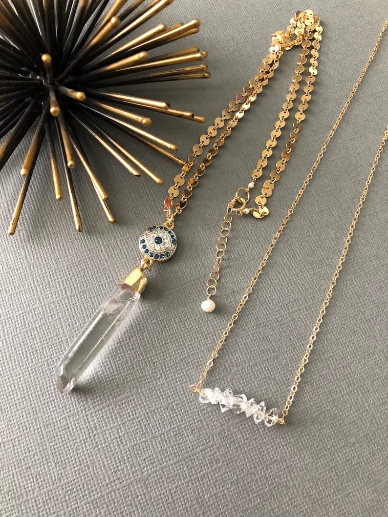 Herkimer Diamond Beaded Bar muse411 dainty bar necklace Herkimer Diamond Necklace Raw Crystal Necklace healing crystal Gift for her