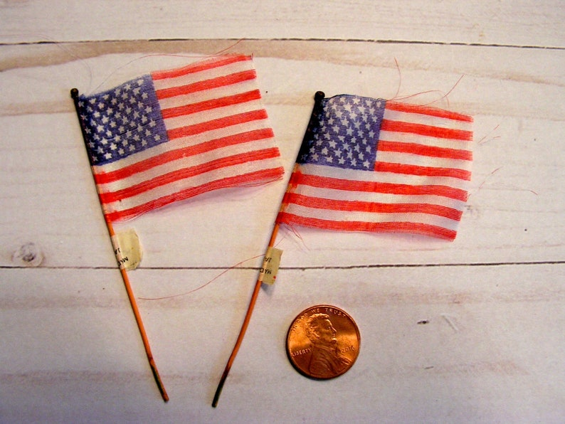 Vintage Mini USA Flags | Made in Japan | Thin Cotton Flag on Wood Stick |  Independence Day Decor
