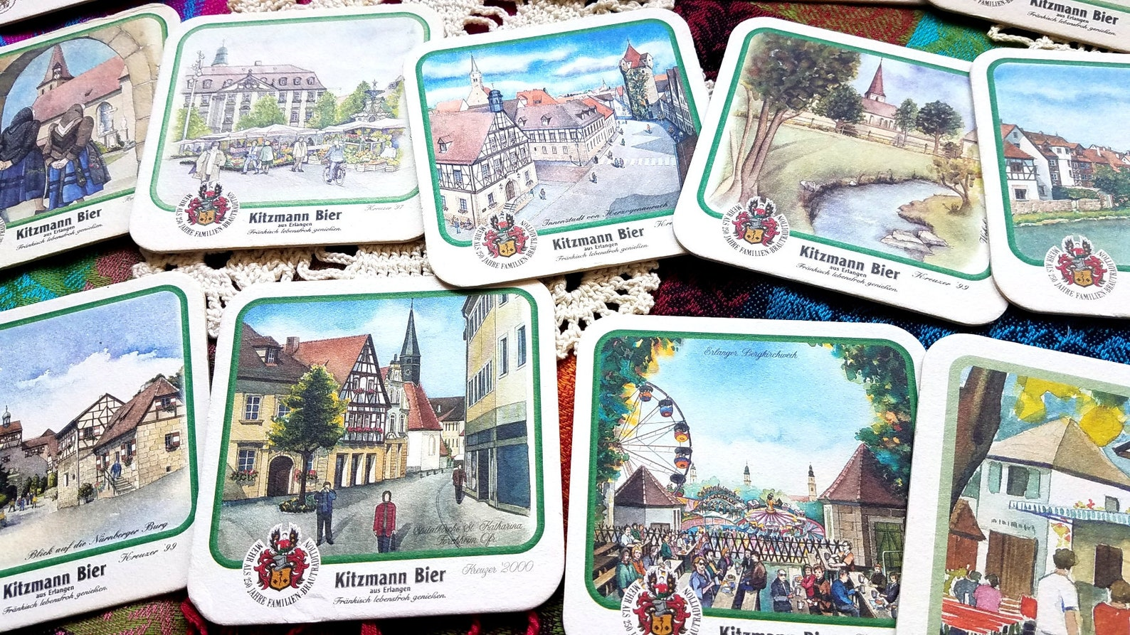 Set of 14 Collectible Vintage German Beer Coasters with Rare Architectural Design