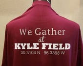 Small We Gather at Kyle Field Maroon Tee Latitude Longitude GPS Coordinates TAMU Licensed Crafter