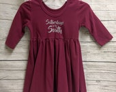 Saturdays in the South Toddler Dress - Maroon - Ready to Ship - Free Shipping - Ships Next Business Day - Football Dress - Spirit Wear