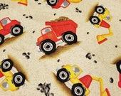 Construction Fabric Fat Quarter Victoria Hutto Quilting Treasures Dump Truck Front End Loader Cement Mixer Rocks
