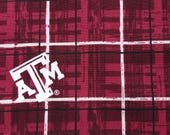 Texas A&M Plaid Fabric By the Yard, Aggies, TAMU, College Station, Gig Em, Whoop, Howdy, Quilting Fabric, Maroon, Gray