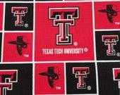 Texas Tech Fabric Fat Quarters, Raiders, Red, Black, Guns Up