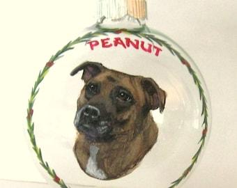 Pitbull, Custom Pet Portrait Painting, Dog Christmas Ornament, Painted Glass Ball, Pet Loss Rememberance, Dog Memorial, Custom Dog Art