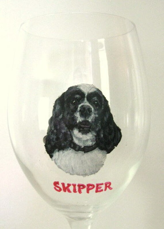 30c9005ed9d Cocker Spaniel Painted Wine Glass Custom Pet Portrait