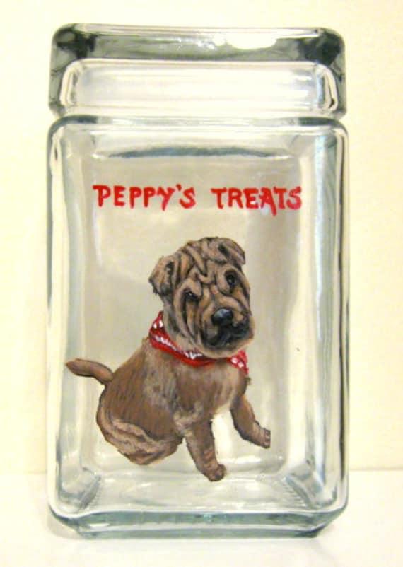 Tratar de perro personalizado Frasco con Dog Bone