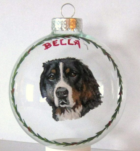 Dog Lover Gift for Mom or Dad Personalized Pet Portrait Painting Pet Loss Memorial White Dog Custom Christmas Ornament