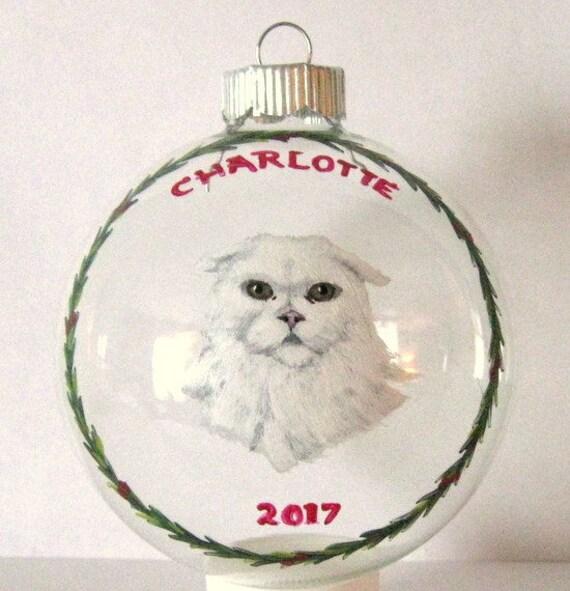 Custom Pet Portrait Cat Decor White Cat Dog Portrait Personalized Christmas Ornament Custom Glass Art Dog Ornament Pet Loss Memorial