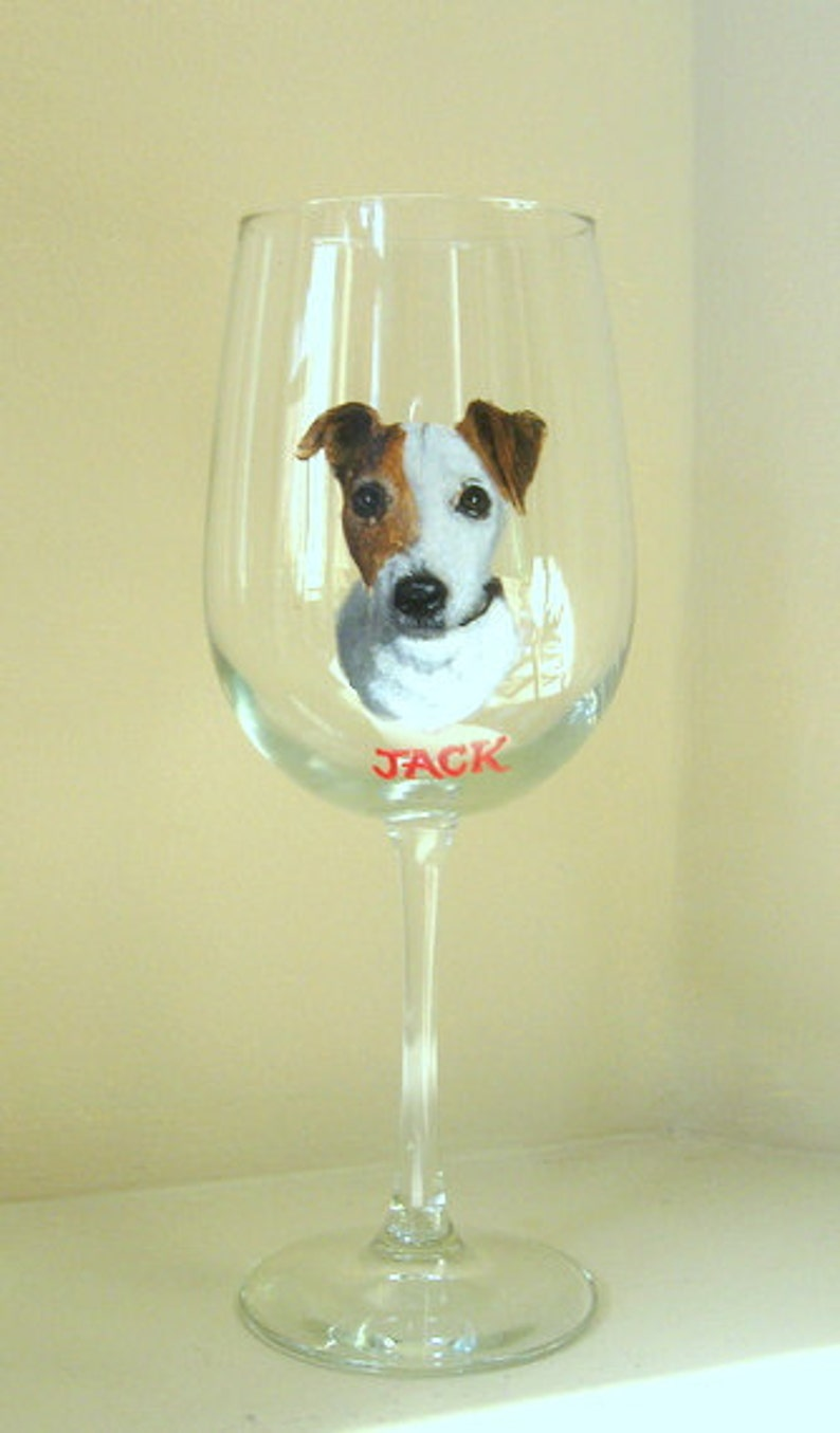 dadb81d013a Painted Glassware Wine Glass Jack Russell Terrier Pet