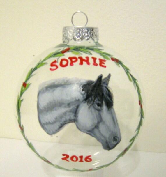 Loss of a Pet Pet Memorial Equestrian Art Animal Pet Portrait Personalized Pet Custom Ornament Christmas Decoration Horse Painting