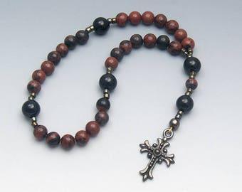 Prayer Beads - Masculine Mahogany Obsidian - Men's Rosary Beads - Lent Gifts For Him - Item # 724