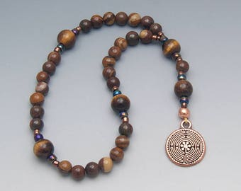 Labyrinth Anglican Rosary - Brown Jasper and Tigerseye - Christian Prayer Beads Religious Gift - Item # 818
