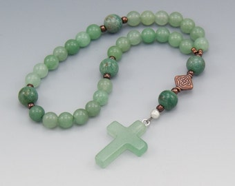 Anglican Prayer Beads - Green Aventurine Gemstone - Christian Rosary - Pocket Prayer Beads - Item # 746